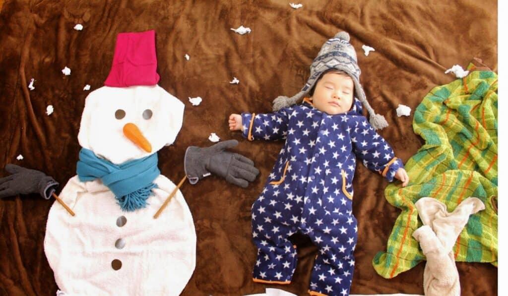 冬の防寒着にピッタリ!足つきカバーオール