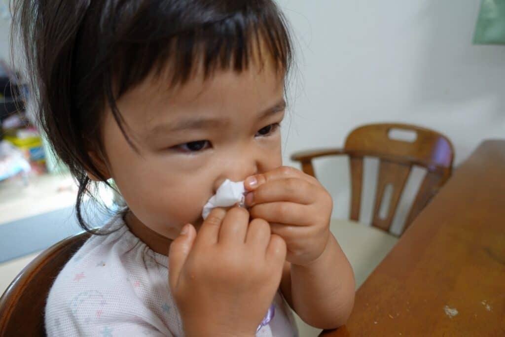 鼻水や咳込みがある
